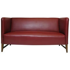 Thorald Madsen Danish Loveseat Sofa in Red Leather