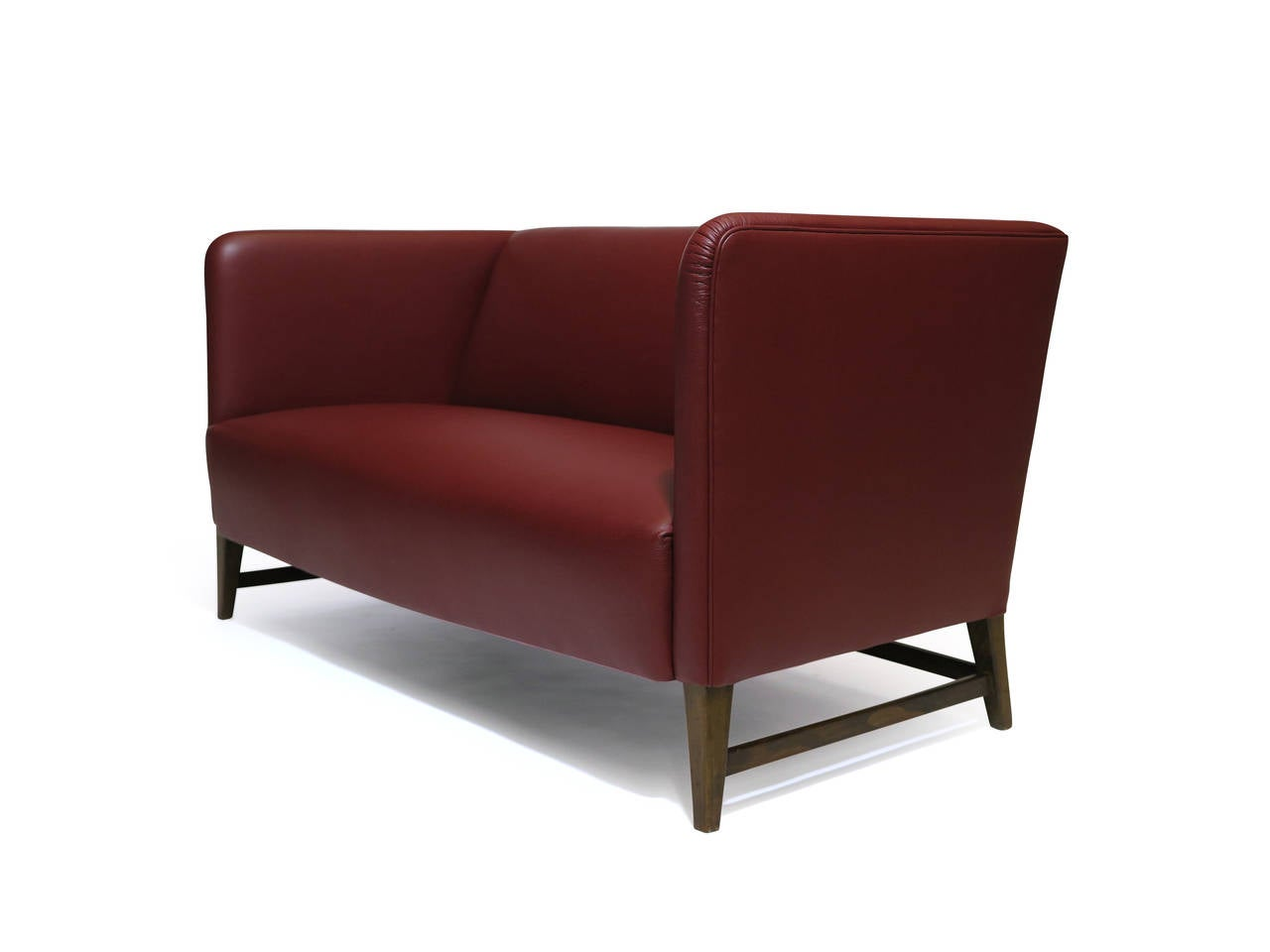 Thorald Madsen Danish Loveseat Sofa In Red Leather At 1stdibs