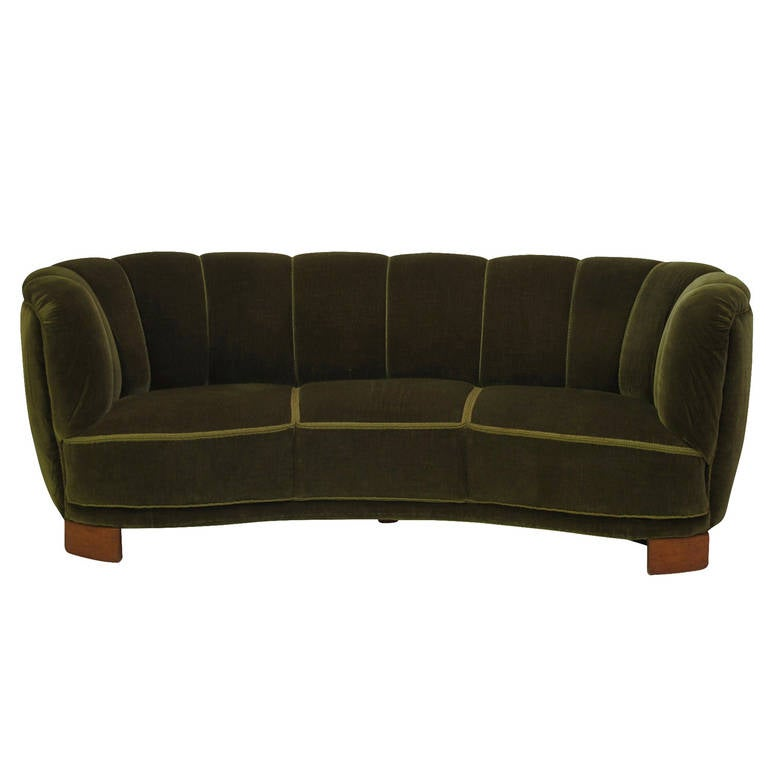 1940s Scandinavian Deco Green Mohair Sofa At 1stdibs