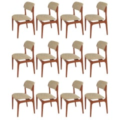 Set of 12 Erik Buch Dining Chairs