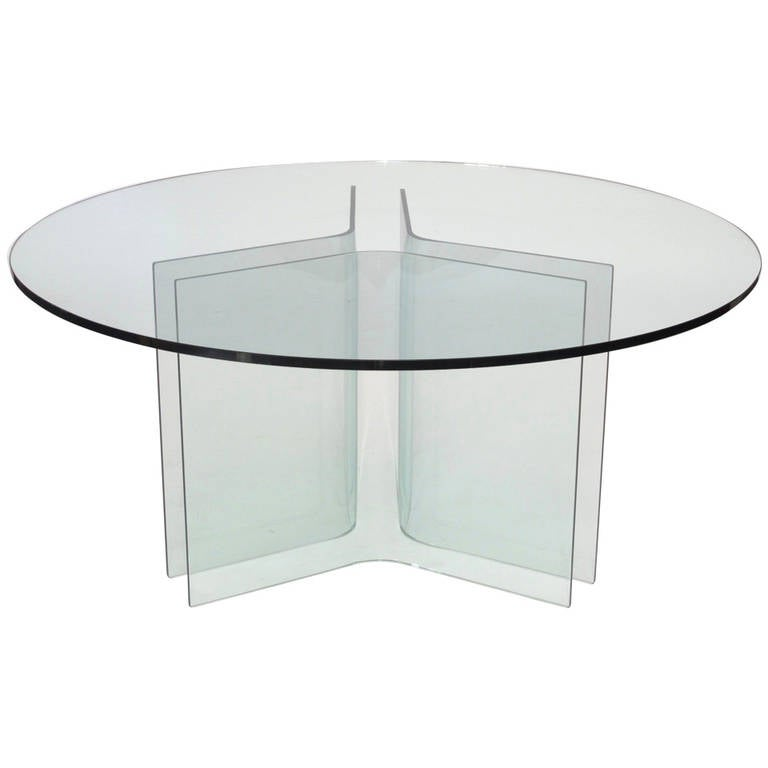 Italian Round Glass Dining Table At 1stdibs