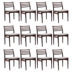 12 Erling Torvits Solid Rosewood Dining Chairs