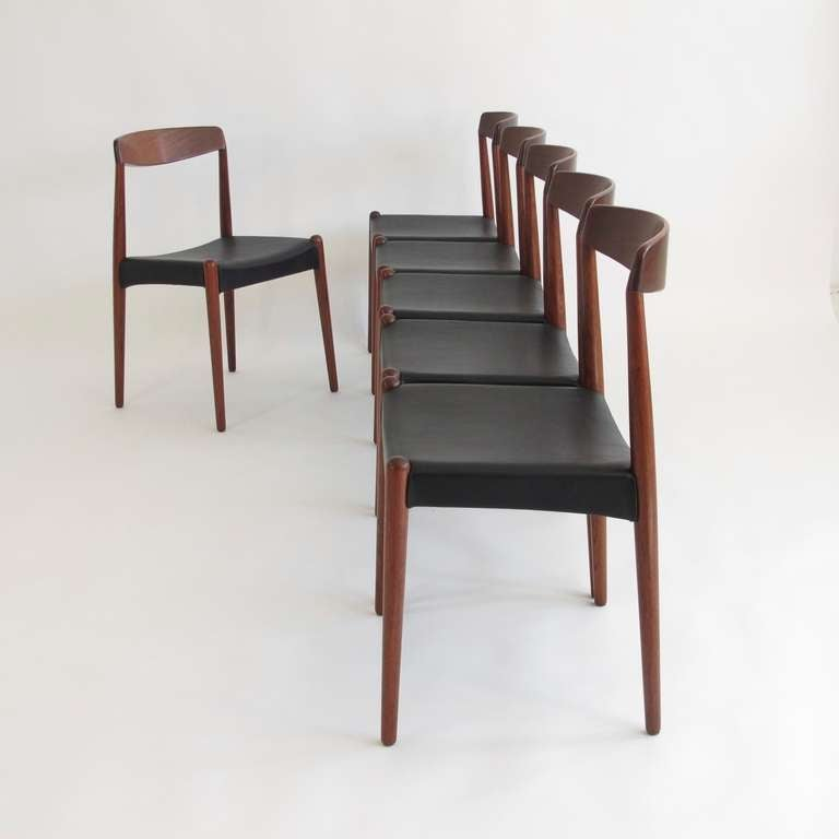 Set Of Six Hans Olsen Dining Chairs Crafted In Rare Exotic Wood, With Newly  Upholstered