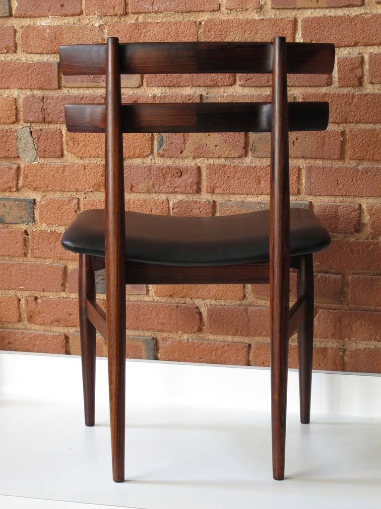 Sculpted rosewood danish dining chairs red modern furniture - Poul Hundevad Rosewood Dining Chairs At 1stdibs