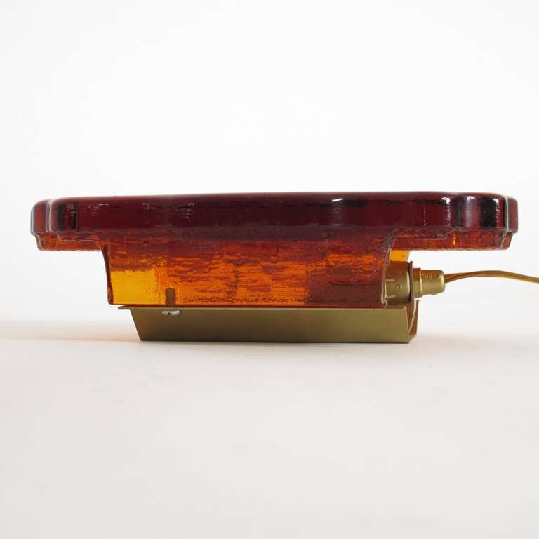 Pair of Abstract Orange Glass Wall Sconces For Sale at 1stdibs