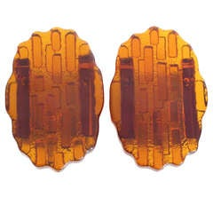Pair of Abstract Orange Glass Wall Sconces