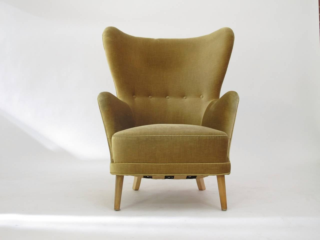Scandinavian Modern Danish Wingback Chair in Mohair For Sale