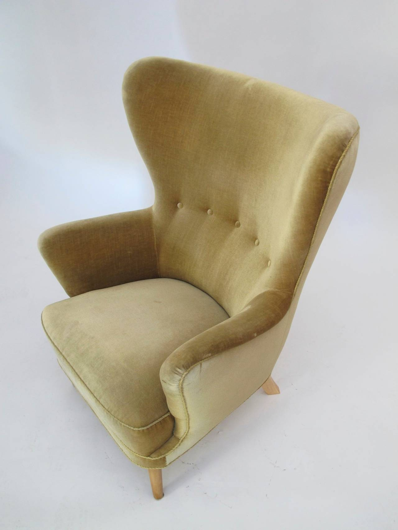 Danish Wingback Chair in Mohair For Sale 2