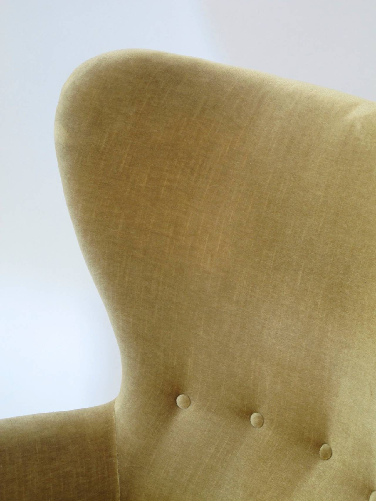 Danish Wingback Chair in Mohair For Sale 1