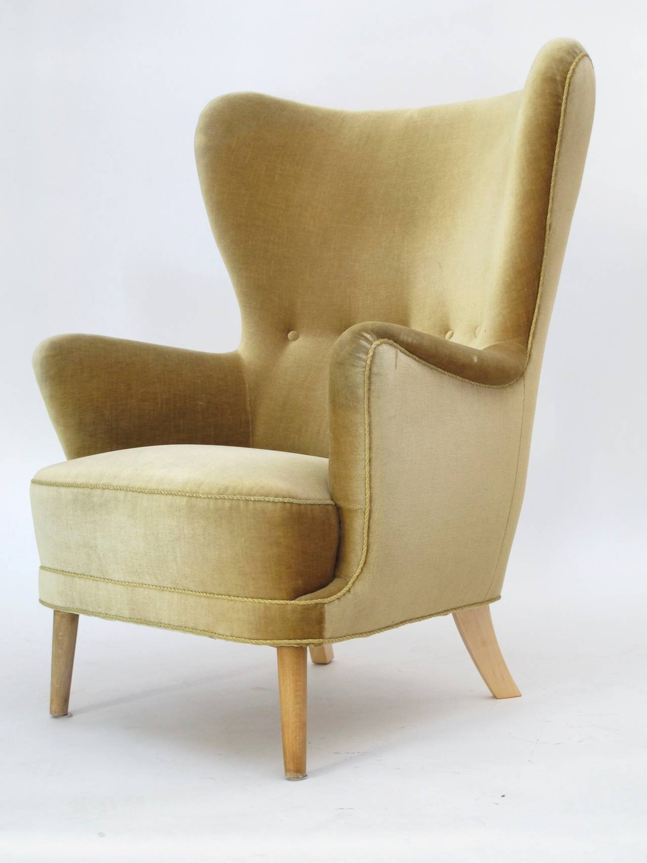 Danish Wingback Chair in Mohair For Sale 3