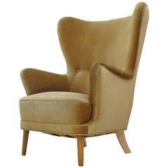 Danish Wingback Chair in Mohair