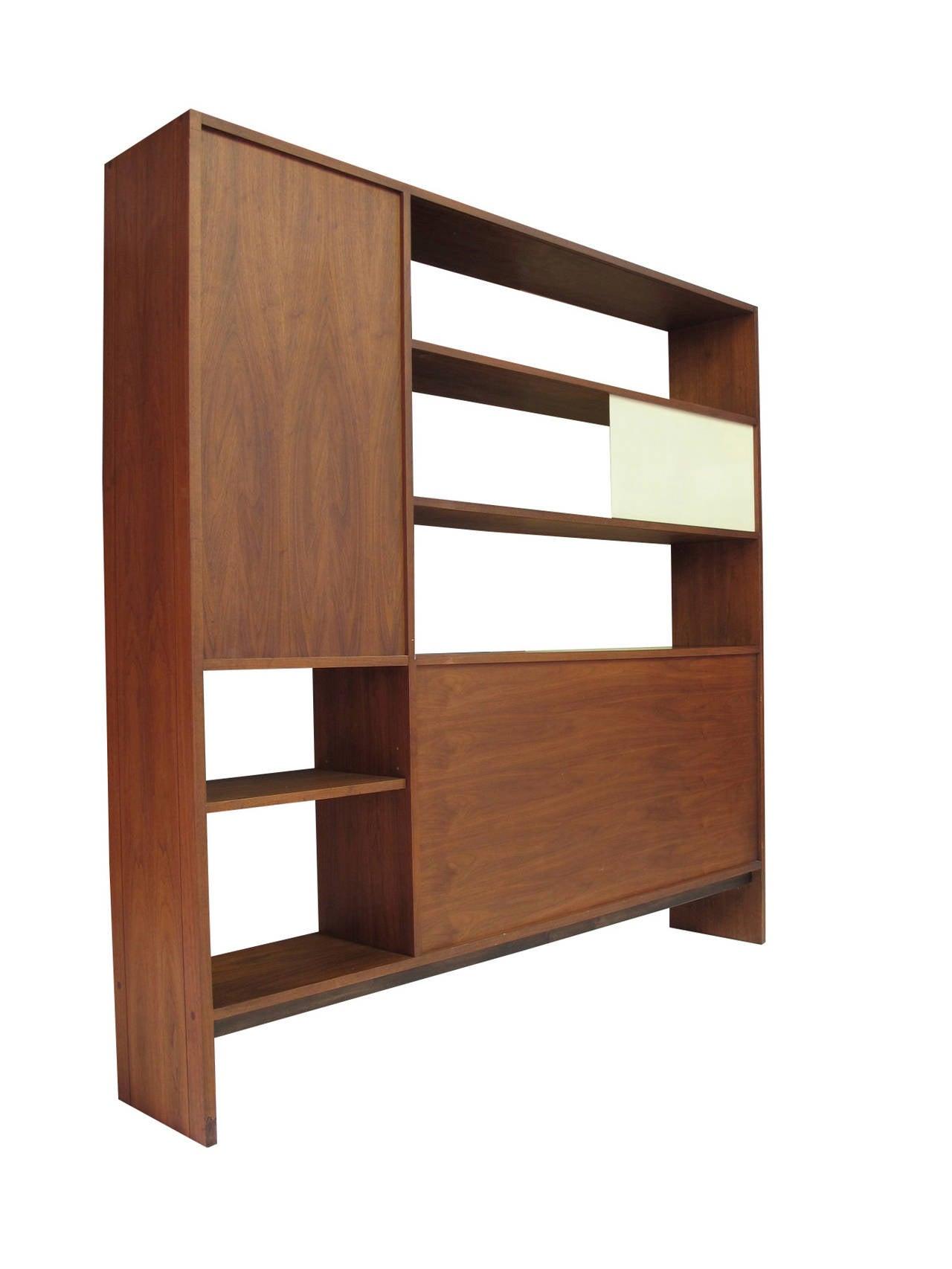 Walnut Room Divider Bookcase At 1stdibs