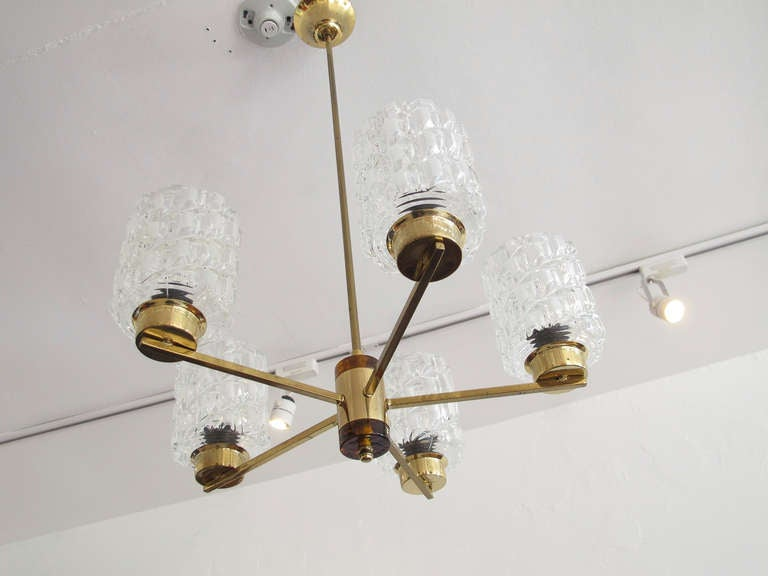 Glass Orrefors Crystal and Brass Chandelier For Sale