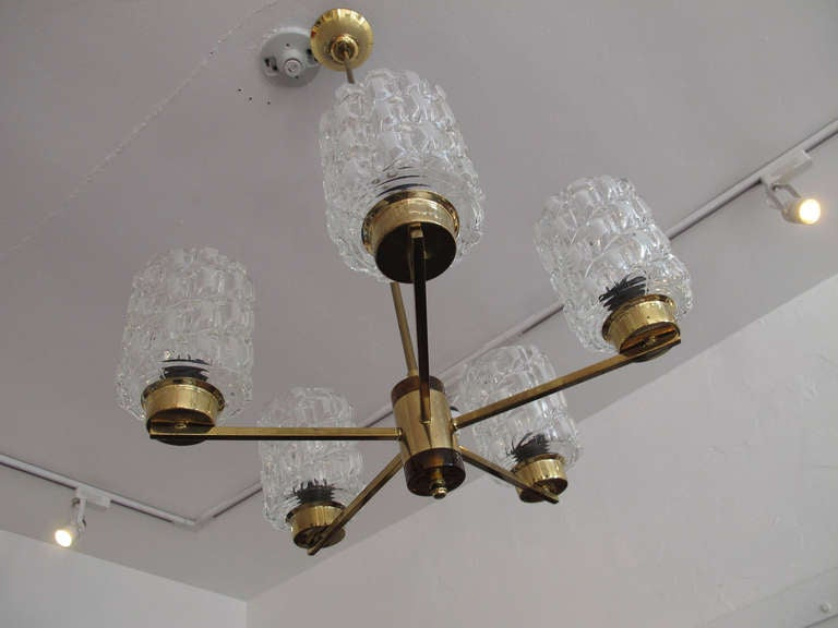 20th Century Orrefors Crystal and Brass Chandelier For Sale