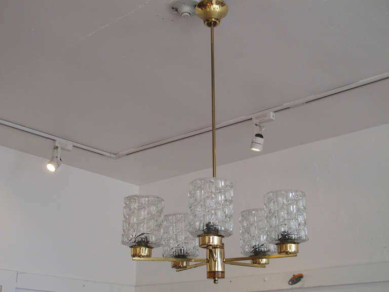 Orrefors Crystal and Brass Chandelier For Sale 1