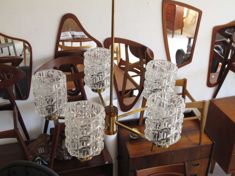 Orrefors Crystal and Brass Chandelier For Sale 2
