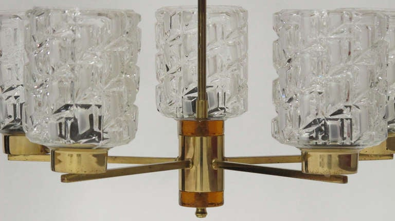 Orrefors Crystal and Brass Chandelier For Sale 3