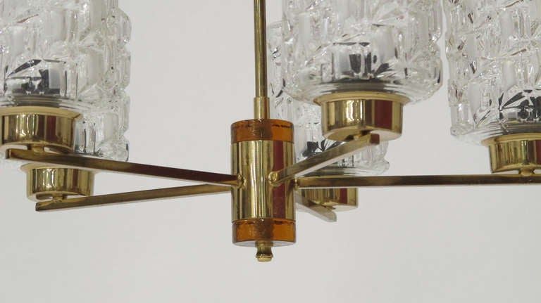 Swedish Orrefors Crystal and Brass Chandelier For Sale