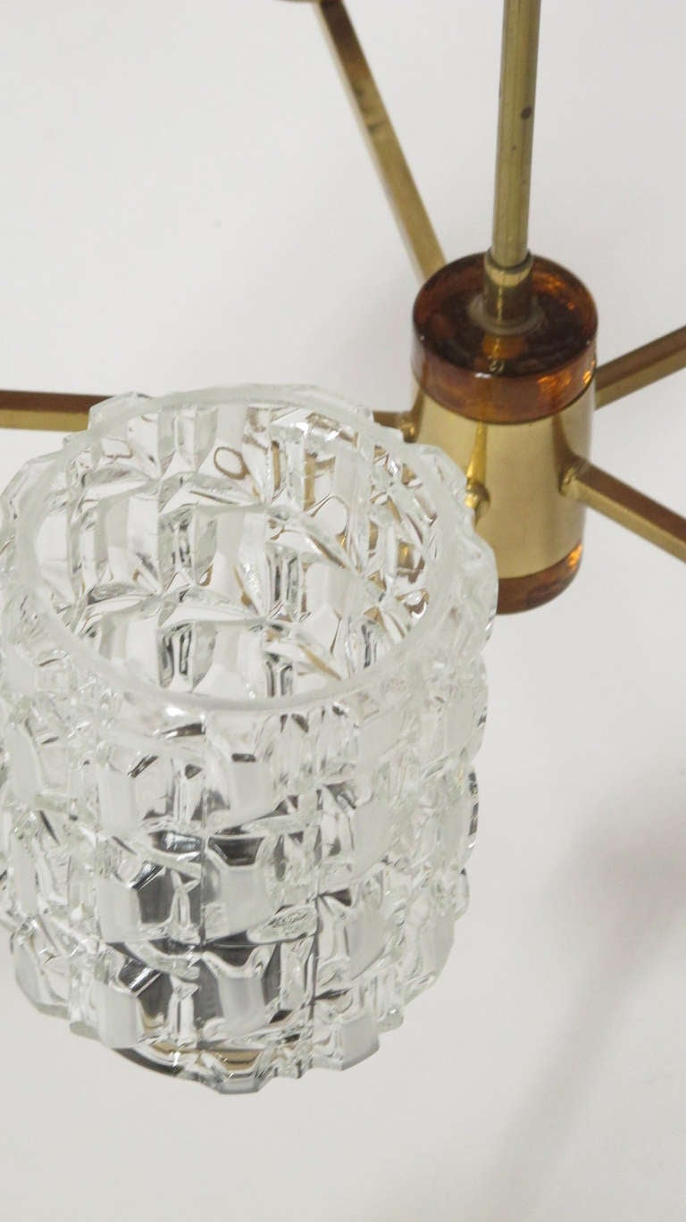 Orrefors Crystal and Brass Chandelier In Good Condition For Sale In Berkeley, CA