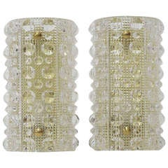 Orrefors Crystal Sconces by Carl Fagerlund
