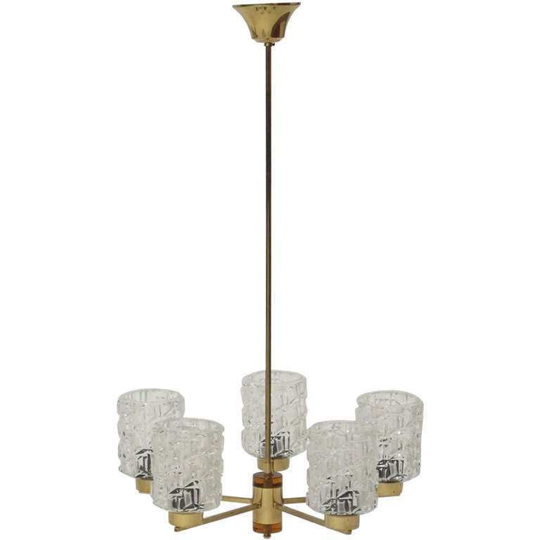 Orrefors Crystal and Brass Chandelier For Sale