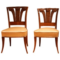 Pair of Italian Walnutwood Dining Chairs with Windsor Feathers and Peach Silk