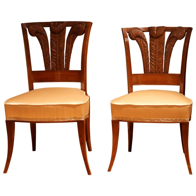 Pair of Italian Walnutwood Dining Chairs with Windsor Plume and Peach Silk