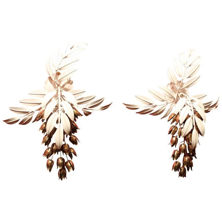 Wall Sconces With Leaves : A Pair of French Palm Leaf -Motif Wall Sconces at 1stdibs