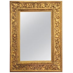 Italian 18th Century Louis XVI Mirror in Hand-Carved Giltwood Frame