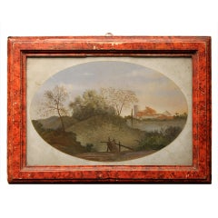 18th Century Rectangular Landscape Painting on Glass with Red Lacquer Frame