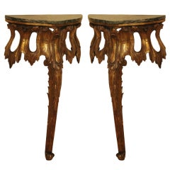 Pair of 19th Century Venetian Giltwood Consoles