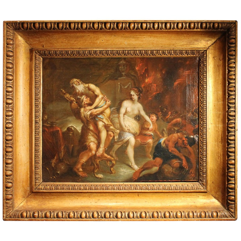 French 19th Century Oil on Canvas Mythological Scene Painting in Gilt Wood Frame For Sale