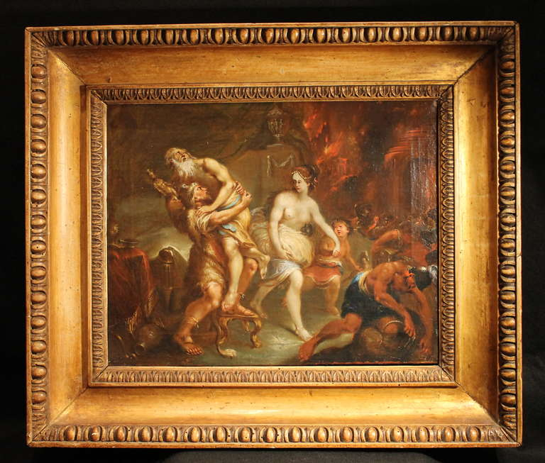 This beautiful French neoclassical oil painting on canvas features one of the most important event of Greek mythology: The burning of Troy. The scene describes the moment of Aeneas escaping from the city of Troy with his family while he's carrying