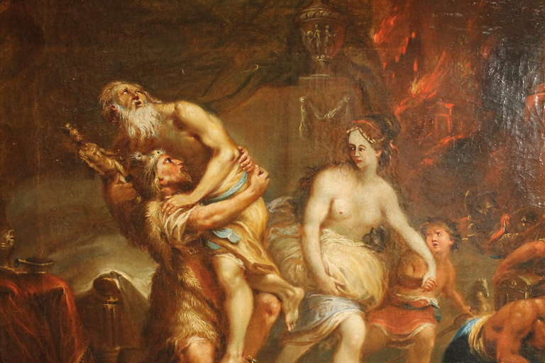 Neoclassical French 19th Century Oil on Canvas Mythological Scene Painting in Gilt Wood Frame For Sale