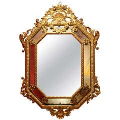 Italian 19th Century Diamond Shape Mercury Mirror in Hand-Carved Giltwood Frames