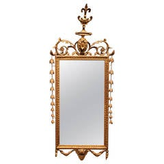 Italian 19th Century Carved Giltwood Regency Style Narrow Rectangular Mirror