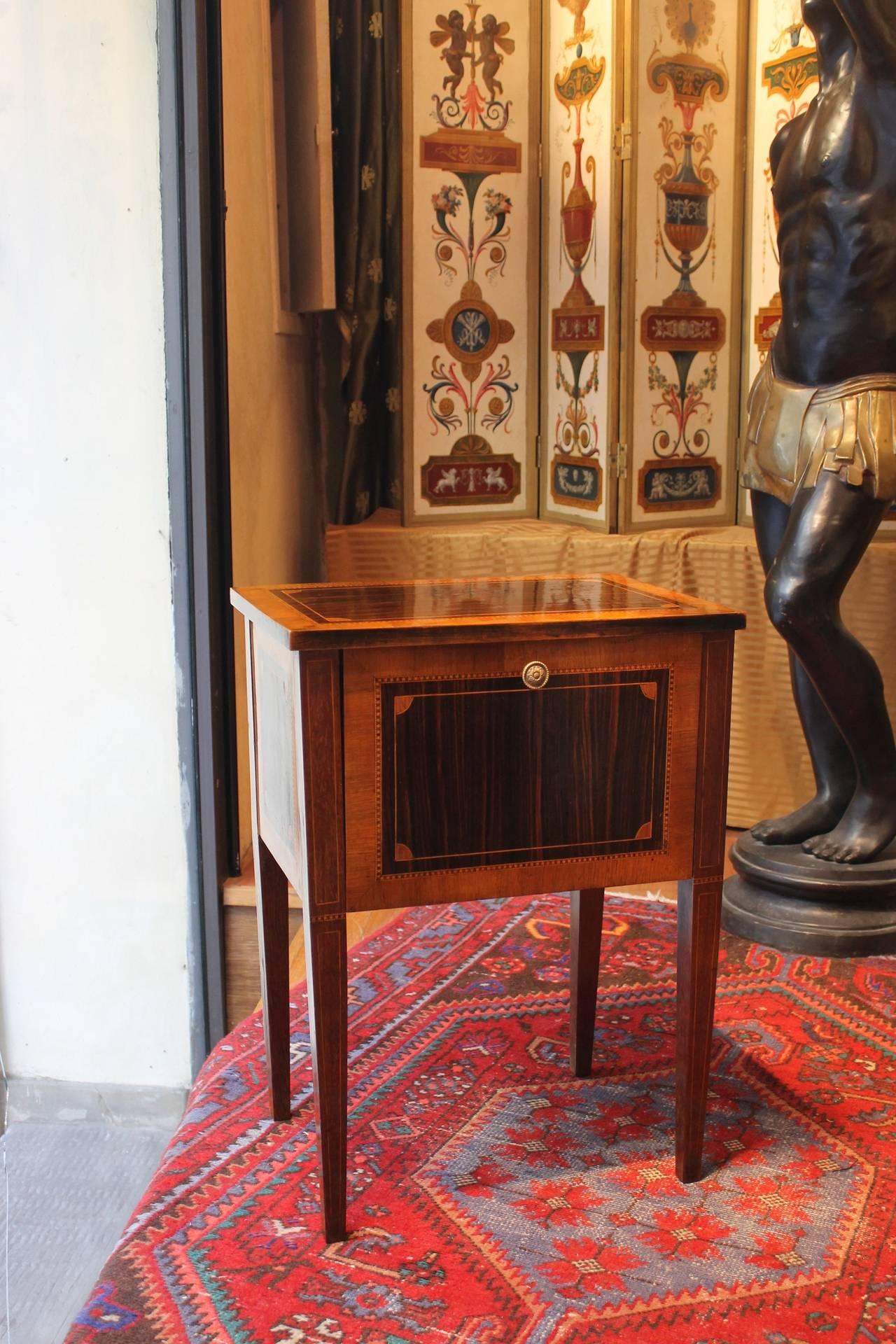 Italian Mahogany And Walnut Wood Louis Xvi Narrow Night