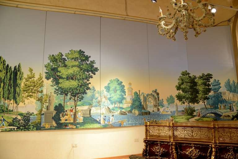 a huge zuber scenic wallpaper feat the french garden at 1stdibs. Black Bedroom Furniture Sets. Home Design Ideas