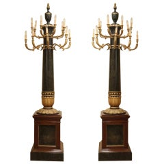 A Pair of Florentine Empire Period Lacquer and Gilt Wood Column Shape Floor Lamp