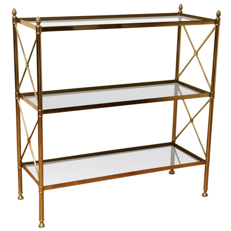 a vintage hollywood regency metal and glass etagere bookcase at 1stdibs. Black Bedroom Furniture Sets. Home Design Ideas