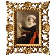 A late 18th C. Painted Porcelain Plaque Elisabeth Vigée Le Brun Self Portrait