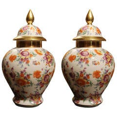Pair of German Chinoiserie Porcelain Vases with Cover and Floral Decorations