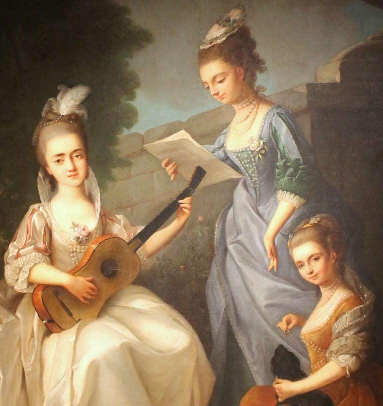 Ladies playng in the garden Italian Painting 2