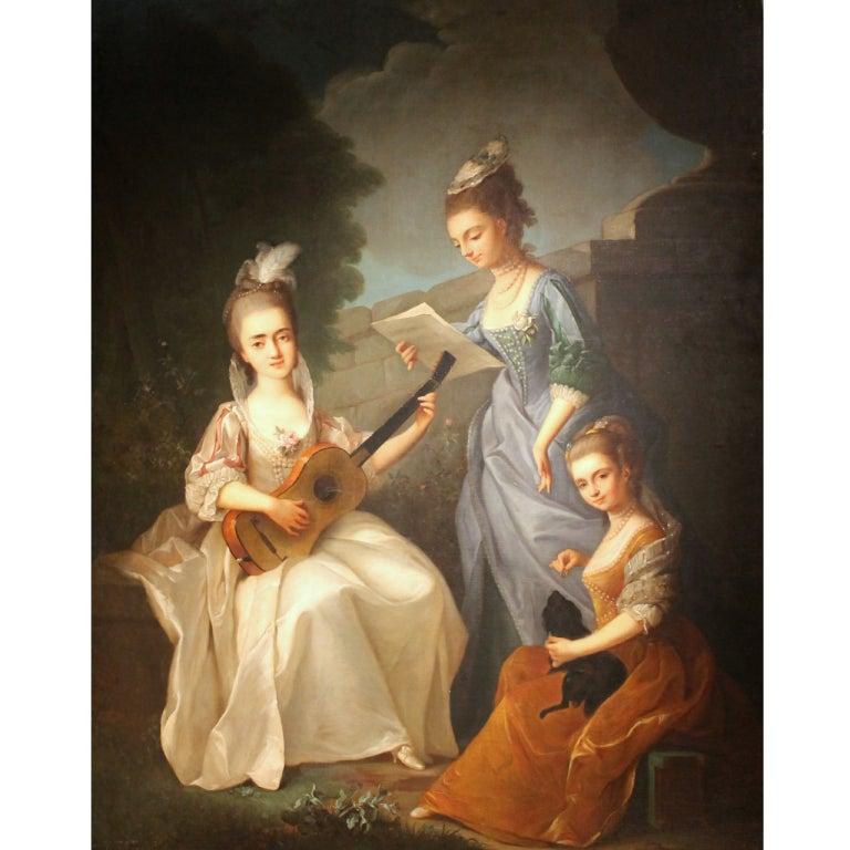 Ladies playng in the garden Italian Painting 1