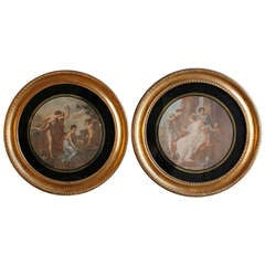 A Pair Of Engravings After Angelica Kauffmann In A Round Giltwood Frame