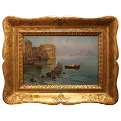 Oscar Ricciardi, Italian 19th Century Oil on Canvas Marine Landscape Painting