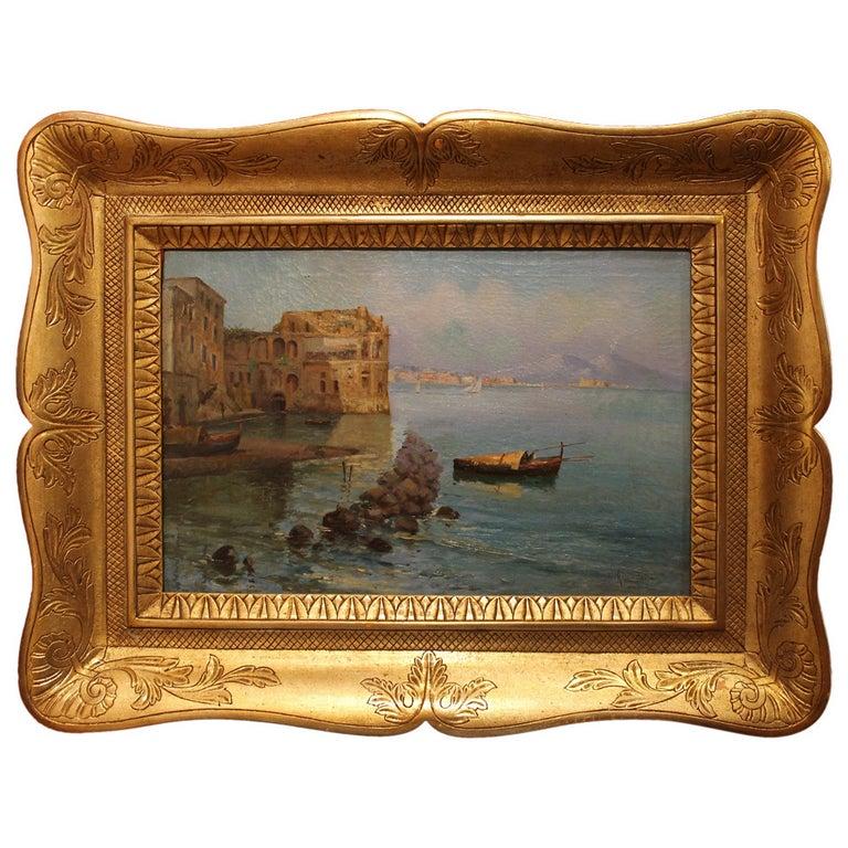 Oscar Ricciardi, Italian 19th Century Oil on Canvas Marine Landscape Painting  For Sale