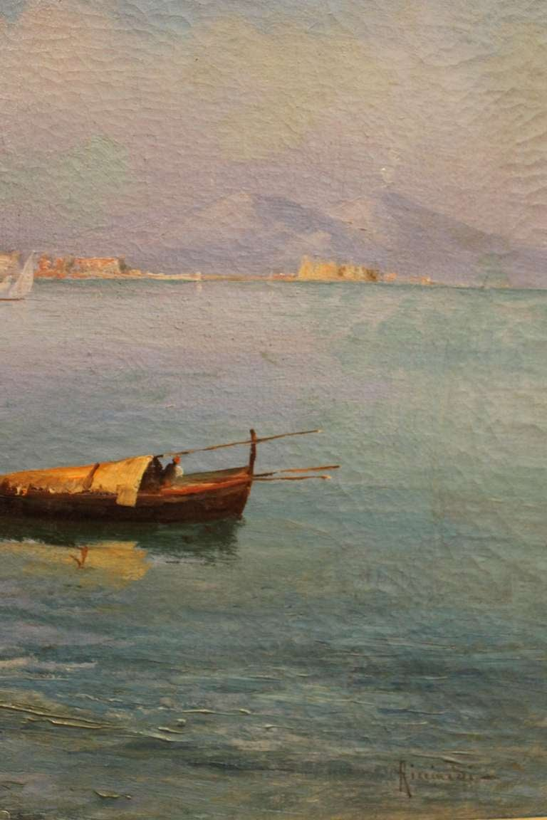 Romantic Oscar Ricciardi, Italian 19th Century Oil on Canvas Marine Landscape Painting  For Sale