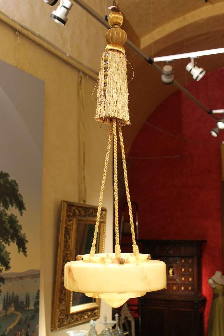 Italian Art Deco Faux Alabaster Murano Chandelier For Sale