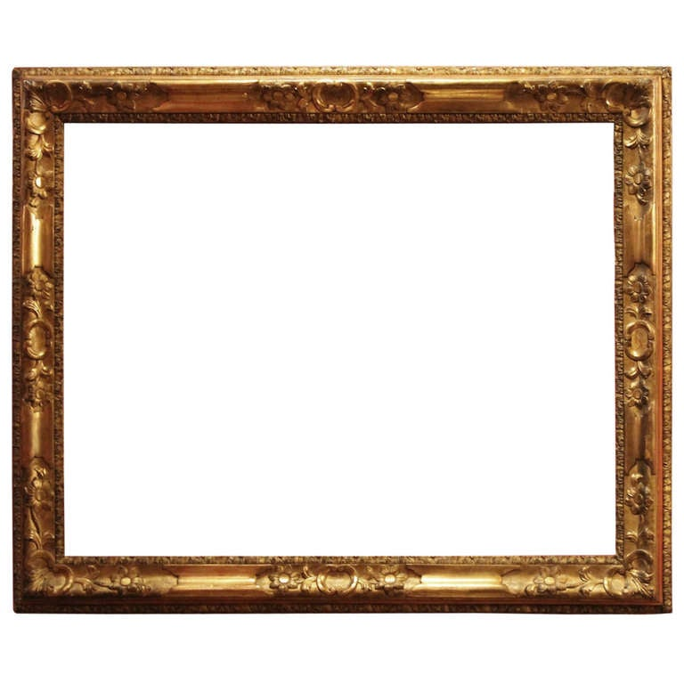 18th Century Venetian Hand Carved Gilt Wood Frame For Sale